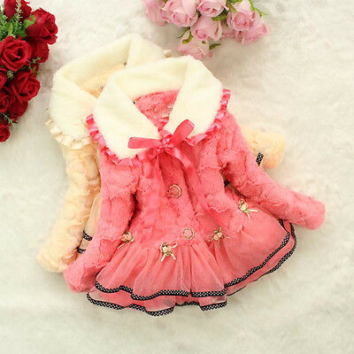 Girls Kids Baby Princess Faux Fleece Lace Thicken Jacket Coat Snowsuit Outwear