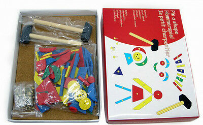 Kaper Kidz Children's Wooden Tap a Shape Tangram Toy Set! Hammer & Nails!