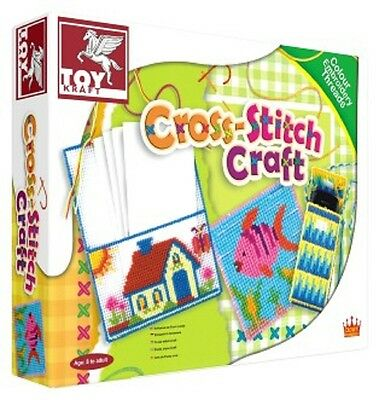 Toy Kraft Children's Learn to Cross Stitch Craft Kit Set! Create pouch/bookmark!