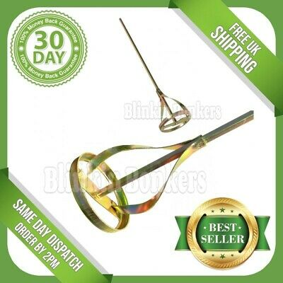 Gold Drill Paint Pot Plaster Mixer Stirrer Mixing Paddle Whisk Hex Shank Tool