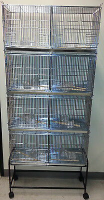 NEW Lot of 4 Bird Finch Canary Breeder Cages With Dividers With Black Stand 048