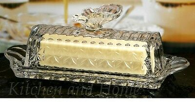 GLASS BUTTER DISH Butterfly Knob Diamond Cut Flared Handles NEW Gift Boxed