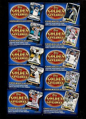 2012 Topps Golden Giveaway Code Cards 10 card Set I Braun Cabrera Mays Clemente