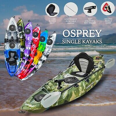 2.7M Fishing Kayak Sit on Top Single + Seat Paddle Package Newcastle Camo 2017