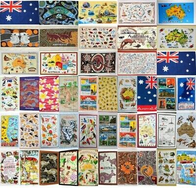 Australia Australian Souvenir Tea Towels 100% Cotton Linen Weave Flag Map Gift