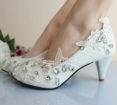Handmade Wedding Bridal Shoes Gorgeous Formal Banquet Lace Flowers High Heels