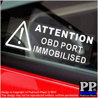 5 x OBD Port Disabled Stickers-Security Window Warning Signs-Car,Van,Lorry,Truck