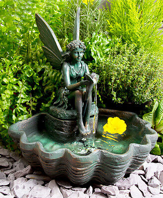 Fairy Statue Sculpture Water Feature Fountain Solar Powered With LED Lights
