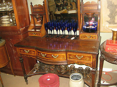 Antique French Vanity Stunning Inlaid Wood With Mirrors & Original Finials