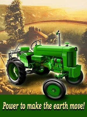 "John Deere 330 Tractor Green  Power To Make The Earth Move!  Sign 12"" X 15 3/4"""
