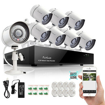 Funlux 8CH 720P HD IP Network POE Outdoor IR CUT CCTV Security Camera NVR System