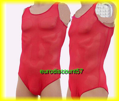 Body Sexy Rouge Maillé Transparent Taille M Extensible Bd   AF