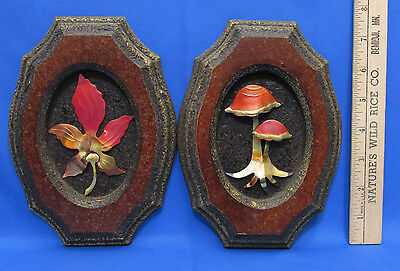Vintage Pair Set 2 Homco Picture Metal Art Wall Hangings Mushroom & Maple Leaf
