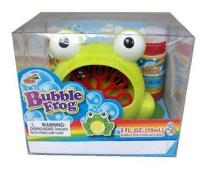 GREEN FROG BUBBLE BLOWER MACHINE blowing bubble battery operated with solution