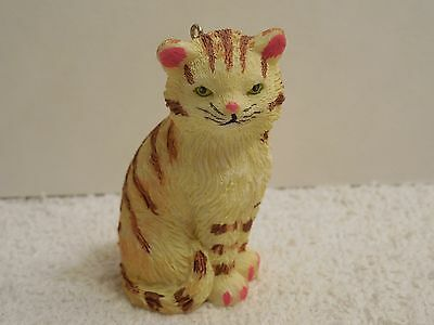 """Cute Resin Brown Sriped and Yellow Sitting Cat Figurine Ornament ~ 2 1/4"""" Tall"""