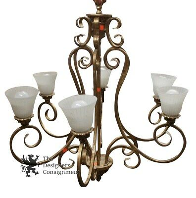 Vtg Contemporary Iron Chandelier 6 Frosted Glass Shades Gold Colored Dining Room
