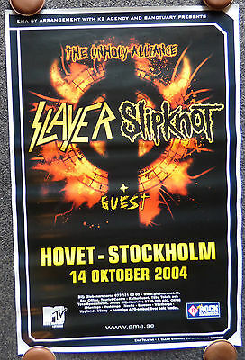 Slayer Slipknot Unholy Alliance 2004 Sweden Concert Poster Mtv Metal