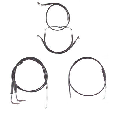"Black +2"" Cable & Brake Line Bsc Kit 1996-2006 Harley-Davidson Touring w/Cruise"