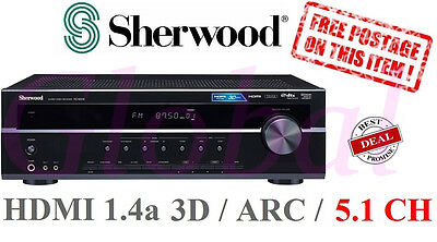 Sherwood RD6506 5.1 Ch 550w Amplifier AV Receiver Home Amp 3D Support HDMI *RFB*