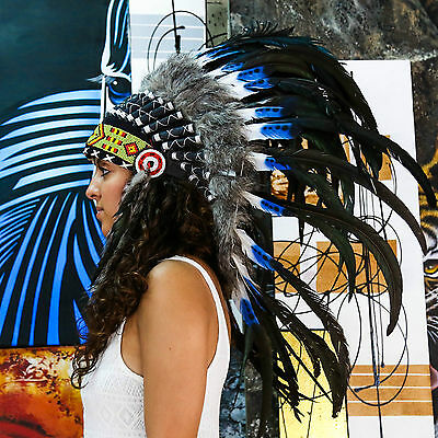 Real Chief Indian Headdress 75cm Native American Costume Hat Feather Feathers