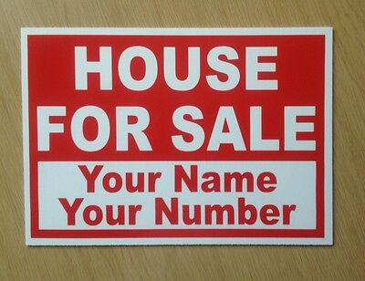 House For Sale sign with custom text included.  (BL-92)