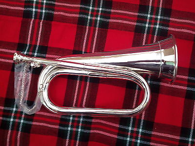 NEW PROFESSIONAL Bb BUGLE SILVER PLATED WITH FREE HAND CARRYING CASE/TUNEABLE