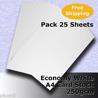 25 Sheets Economy Card Stock WHITE A4 Size 250gsm #H5308 #D1