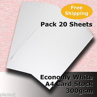 20 Sheets Economy Card Stock WHITE A4 Size 300gsm #H5508 #D1