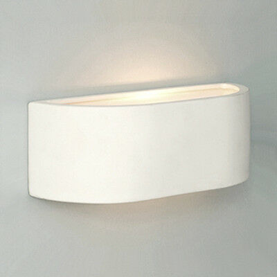 Compact Modern Curved White Ceramic Indoor Mini Uplighter Wall Light Lamp NEW
