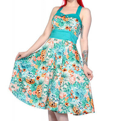 Banned Apparel Butterfly /& Flowers Tropical 50s Vintage Pinup Light Green Dress