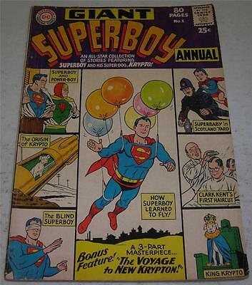 SUPERBOY ANNUAL #1 (DC Comics 1964) Origin of KRYPTO (VG/FN) 80 PAGE GIANT