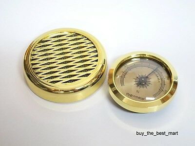 GOLD Color Smoking Tobacco Hygrometer + Humidifier for Cigar Humidor