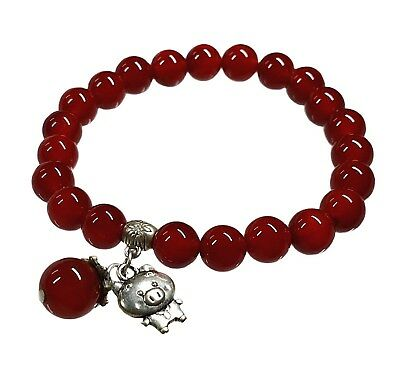 Feng Shui Handmade Red Agate 2019 Zodiac Astrology Pig Bracelet for Wealth Luck