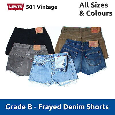 Vintage Levis 501 B Grade Denim Cut Off Shorts UK 6 8 10 12