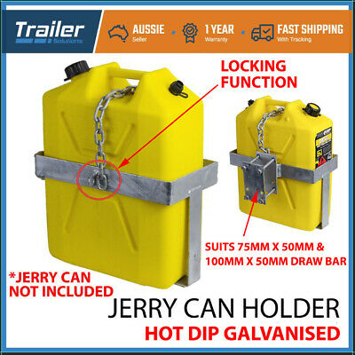 1x JERRY CAN HOLDER LOCKABLE GALVANISED BOLT-ON OFFROAD CAMPING TRAILER CARAVAN