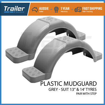 "Trailer Mudguard Plastic Pair With Step Suit 13"" Or 14"" Wheels Trailer Boat"