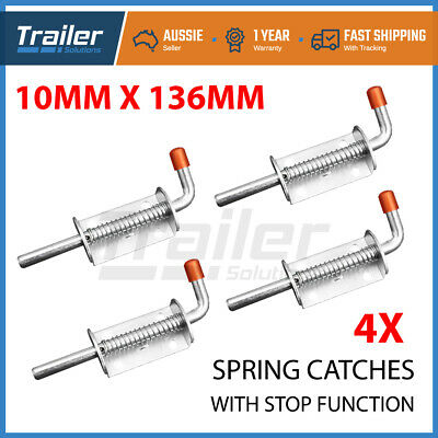 X4 Spring Bolt Latch Catch Zinc Plated Trailer Truck Ute Float Railing Tail Gate