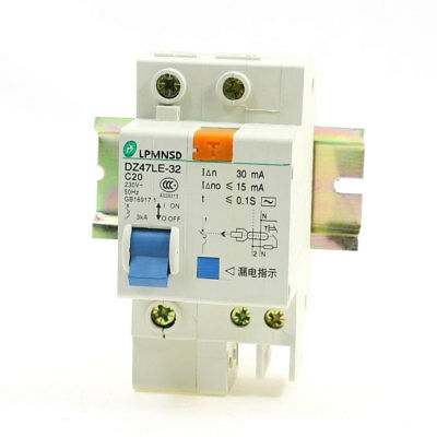 230V 20A DZ47LE-32 1Phase 3000A Overload Circuit Breaker w Lead Rail