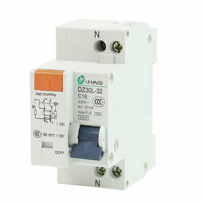 AC 230V 16A 1 Poles 1P Overload Protection ELCB Earth Leakage Circuit Breaker