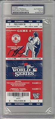 Dustin Pedroia Signed 2013 World Series Game 2 Ticket Stub Red Sox PSA/DNA Auto