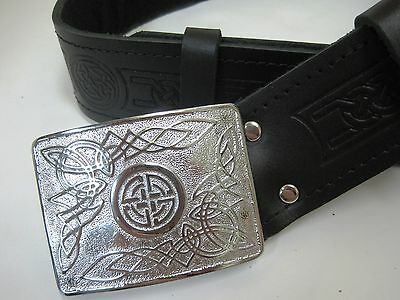 NEW Celtic Embossed Black Leather Kilt Belt & Celtic Buckle Scottish Men's