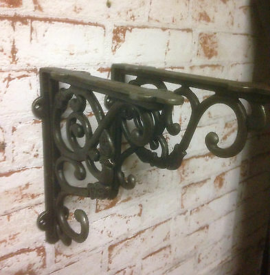 DUTCH rustic victorian style antique iron ornate wall brackets  22x19cm (pair)