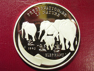 Rare 1993 Congo Large Silver Cameo Proof 1000 fr Elephant-Preservation