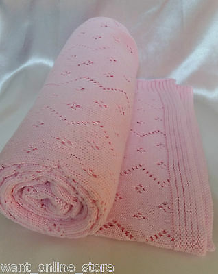 BNWT Rochdale Boutique 100% Pure Cotton Vintage Knit Baby Blanket - Shawl Pink