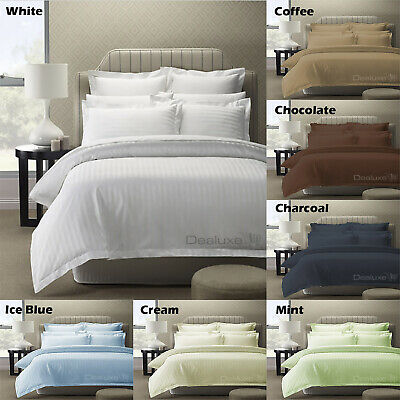 Hotel Quality 100% Cotton Sateen Damask Stripe Quilt Cover Set or Sheet Set