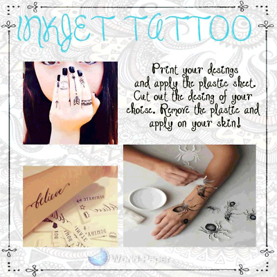 5 sheets Temporary Tattoo Tatoo Transfer Decal Paper INKJET Printer Only :)