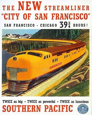 1930'S Era Us Southern Pacific Rail Road American Tourism Canvas Poster Print