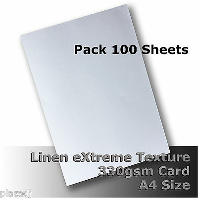 100 Sheets Linen eXtreme Finish Quality Card A4 Size White 330gsm #H7008