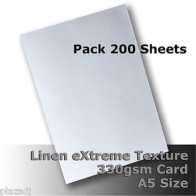 200 Sheets Linen eXtreme Finish Quality Card A5 Size White 330gsm #H7005
