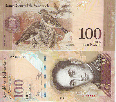 VENEZUELA 100 Bolivares Banknote World Paper Money UNC Currency Pick p-93e Birds